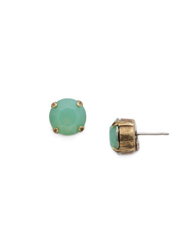Round Crystal Stud Earring in Antique Gold-tone Pacific Opal