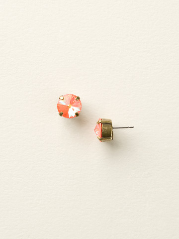 Round Crystal Stud Earring in Antique Gold-tone Ultra Orange