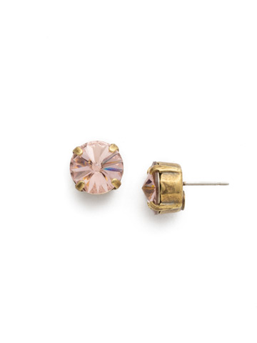 Round Crystal Stud Earring in Antique Gold-tone Vintage Rose