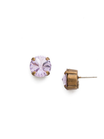 Round Crystal Stud Earring in Antique Gold-tone Violet