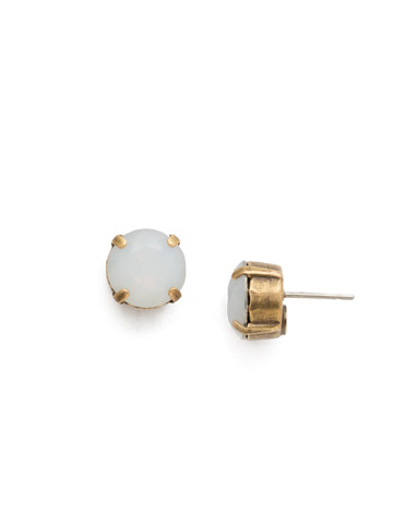 Round Crystal Stud Earring in Antique Gold-tone White Opal