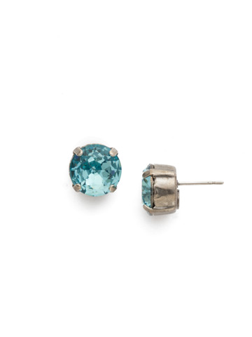 Round Crystal Stud Earring in Antique Silver-tone Aquamarine