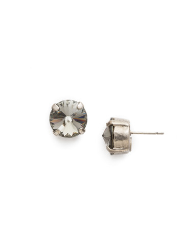 Round Crystal Stud Earring in Antique Silver-tone Black Diamond