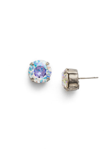Round Crystal Stud Earring in Antique Silver-tone Crystal Aurora Borealis