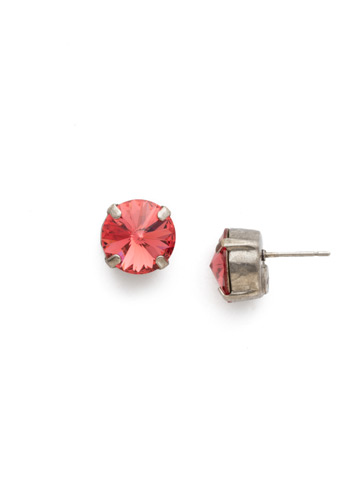 Round Crystal Stud Earring in Antique Silver-tone Coral