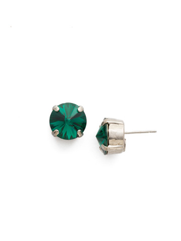 Round Crystal Stud Earring in Antique Silver-tone Emerald
