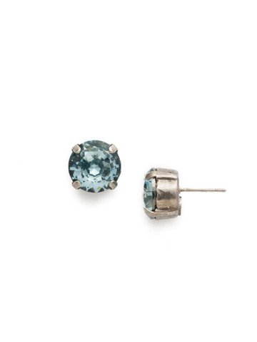 Round Crystal Stud Earring in Antique Silver-tone Light Aqua
