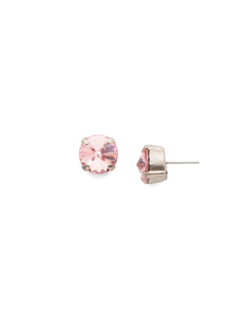 Round Crystal Stud Earring in Antique Silver-tone Light Rose
