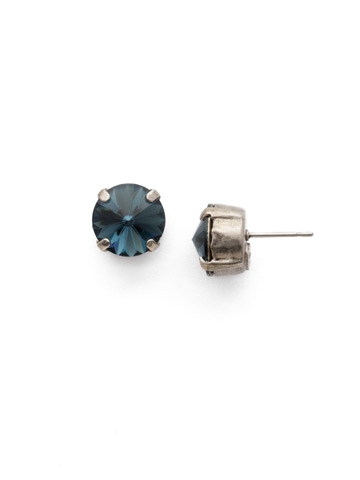 Round Crystal Stud Earring in Antique Silver-tone Montana