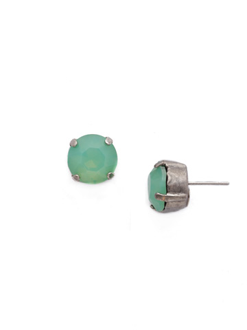 Round Crystal Stud Earring in Antique Silver-tone Pacific Opal