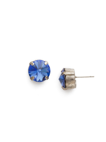 Round Crystal Stud Earring in Antique Silver-tone Sapphire