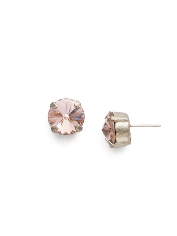 Round Crystal Stud Earring in Antique Silver-tone Vintage Rose