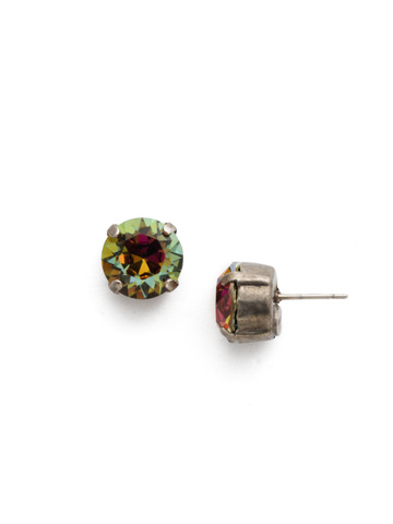 Round Crystal Stud Earring in Antique Silver-tone Volcano