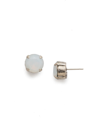 Round Crystal Stud Earring in Antique Silver-tone White Opal