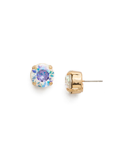 Round Crystal Stud Earring in Bright Gold-tone Crystal Aurora Borealis