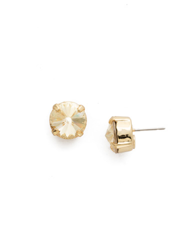 Round Crystal Stud Earring in Bright Gold-tone Crystal Champagne
