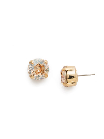 Round Crystal Stud Earring in Bright Gold-tone Dark Champagne
