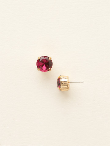 Round Crystal Stud Earring in Bright Gold-tone Fuchsia