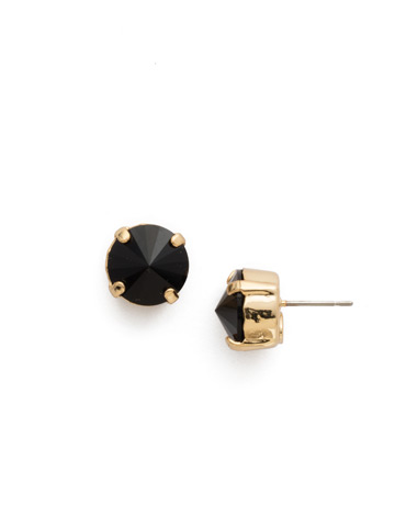 Round Crystal Stud Earrings in Bright Gold-tone Jet