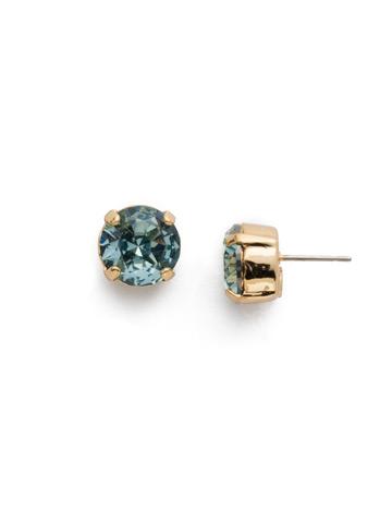 Round Crystal Stud Earring in Bright Gold-tone Light Aqua
