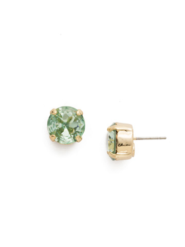 Round Crystal Stud Earring in Bright Gold-tone Mint