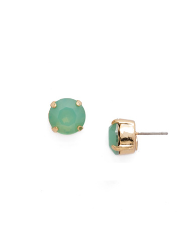 Round Crystal Stud Earring in Bright Gold-tone Pacific Opal