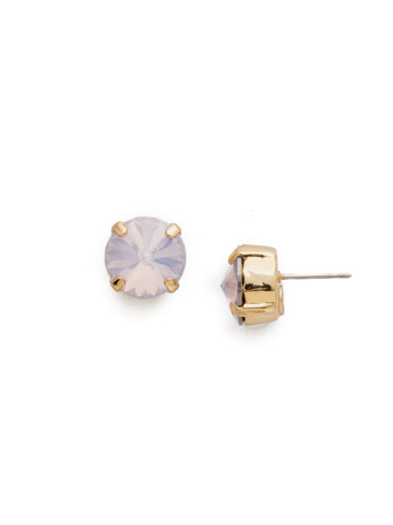 Round Crystal Stud Earring in Bright Gold-tone Rose Water