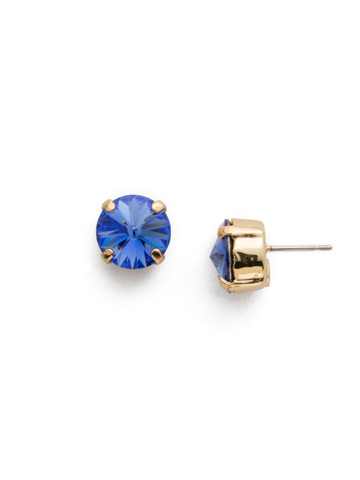 Round Crystal Stud Earrings in Bright Gold-tone Sapphire