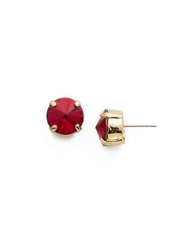 Round Crystal Stud Earring in Bright Gold-tone Siam