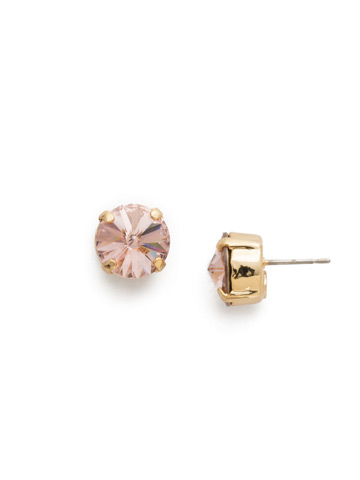 Round Crystal Stud Earrings in Bright Gold-tone Vintage Rose