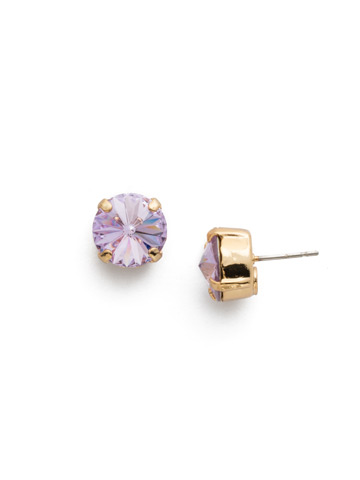 Round Crystal Stud Earring in Bright Gold-tone Violet