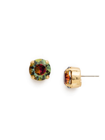 Round Crystal Stud Earring in Bright Gold-tone Volcano