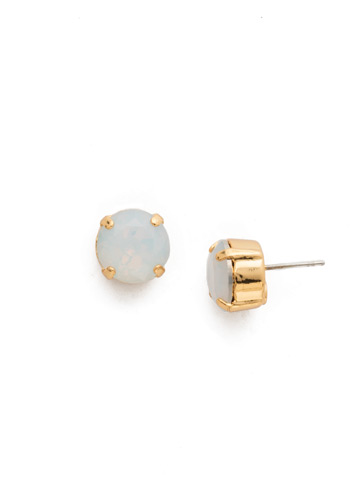 Round Crystal Stud Earring in Bright Gold-tone White Opal