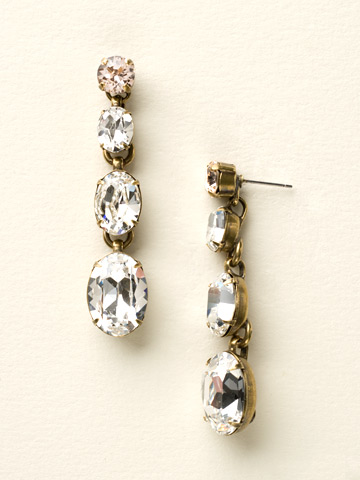 Daring Dangles Classic Earring in Antique Gold-tone Crystal Clear