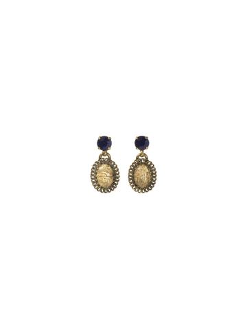 Unique Vintage Earring in Antique Gold-tone Blue Jean Dream
