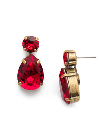 Teardrop Accent Earring in Antique Gold-tone Sansa Red
