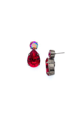Teardrop Accent Earring in Antique Silver-tone Cranberry