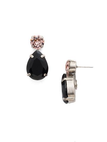 Teardrop Accent Earring in Antique Silver-tone Crystal Noir