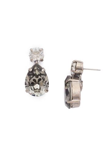 Teardrop Accent Earring in Antique Silver-tone Crystal Rock