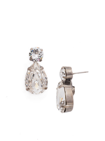 Teardrop Accent Earring in Antique Silver-tone Crystal