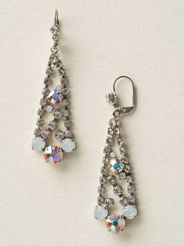 Love Triangle Chandelier Earring in Antique Silver-tone White Bridal