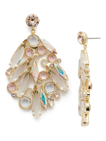 Life of the Party Earring in Bright Gold-tone Silky Clouds