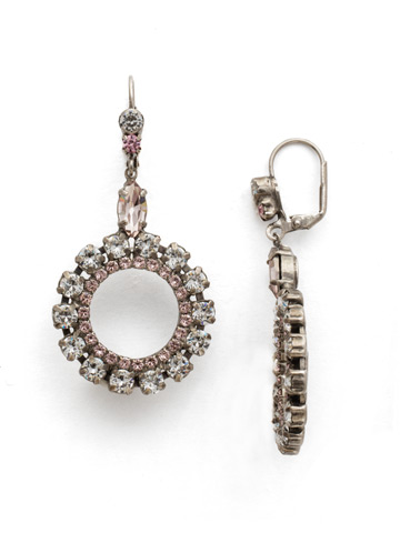 Luxe Loops Earring in Antique Silver-tone Crystal Rose