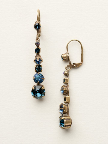 Dazzling Dotted Line Earring in Antique Gold-tone Dress Blues