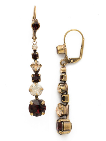 Dazzling Dotted Line Earring in Antique Gold-tone Mighty Maroon