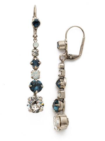Dazzling Dotted Line Earring in Antique Silver-tone Glory Blue