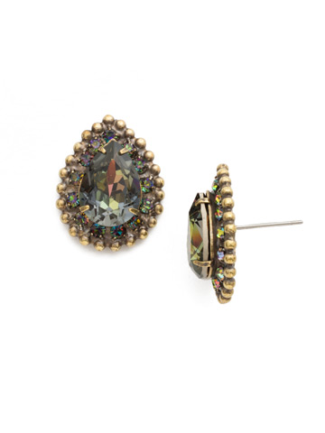 Perfect Pear Cut Earring in Antique Gold-tone Volcano
