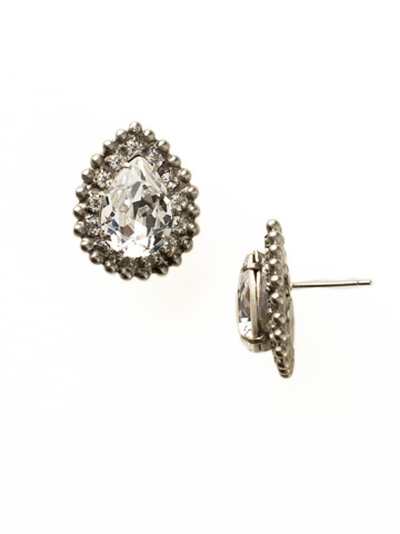 Perfect Pear Cut Earring in Antique Silver-tone Crystal