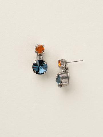 Circular Crystal Cluster Post Earring in Antique Silver-tone Battle Blue