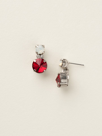 Circular Crystal Cluster Post Earring in Antique Silver-tone Crimson Pride